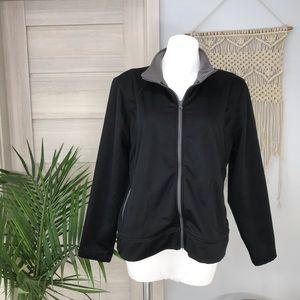 Tek Gear | Fleece Lined Zip Up Black Jacket SZXL